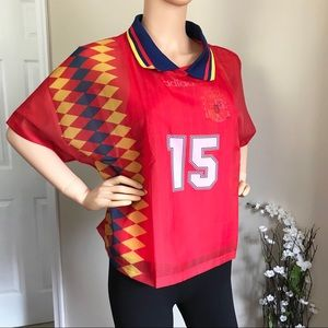 Adidas Spain Red Layer Jersey Top Size M